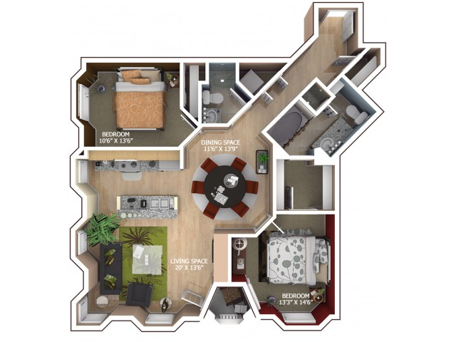 C2 Floor Plan - 2 Bedroom/2 Bathroom