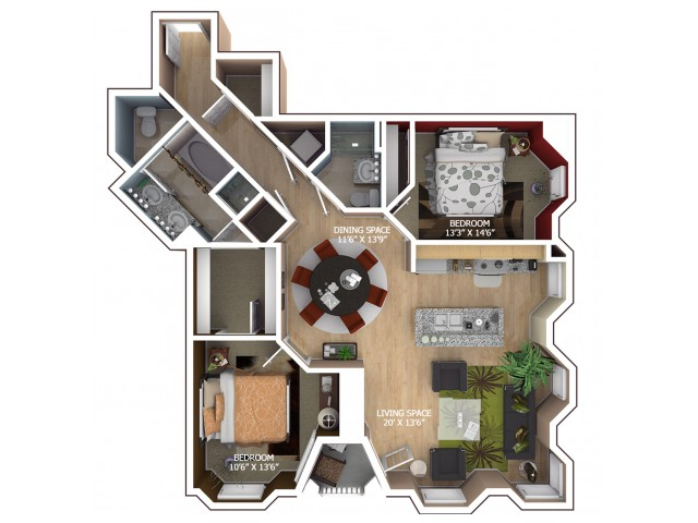 C3 Floor Plan - 2 Bedroom/2 Bathroom