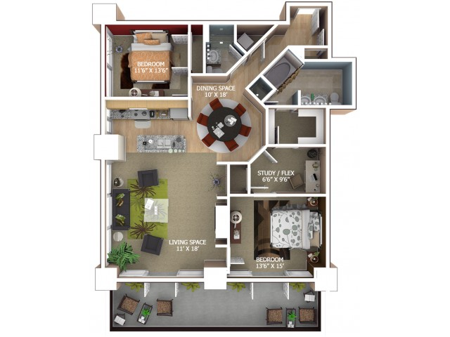 D5 Floor Plan - 2 Bedroom/2 Bathroom