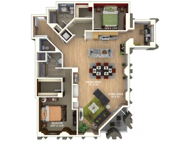 E1 Floor Plan - 2 Bedroom Penthouse/2 Bathroom