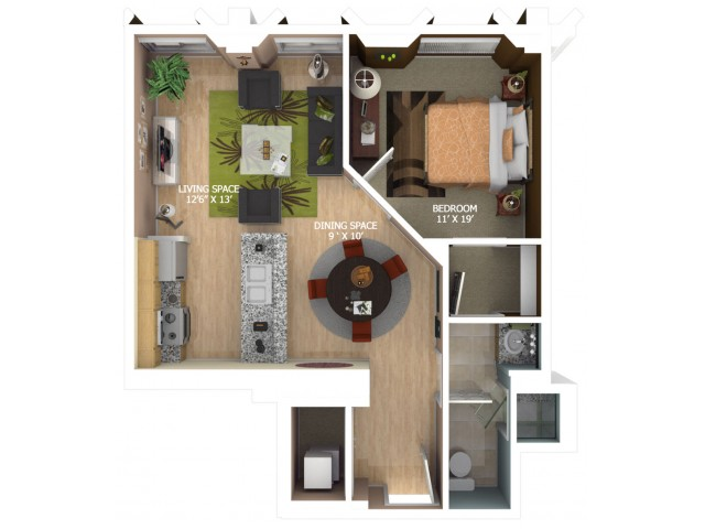 E6 Floor Plan - 1 Bedroom/1 Bathroom