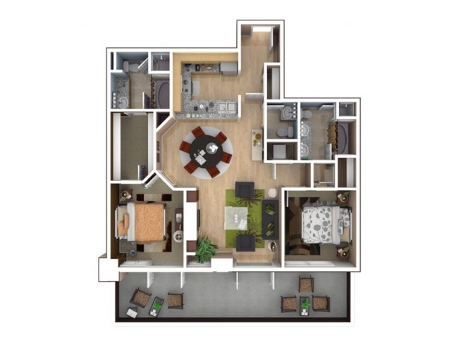 D4 Floor Plan - 2 Bedroom/2 Bathroom