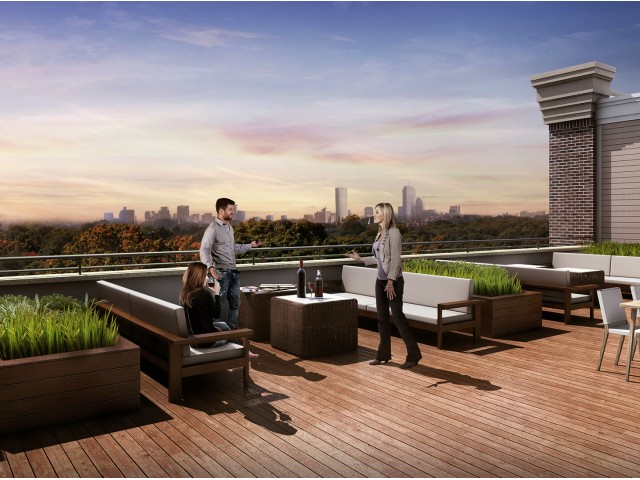 Image of Sky Deck with Views of Downtown Boston for The Merc at Moody and Main