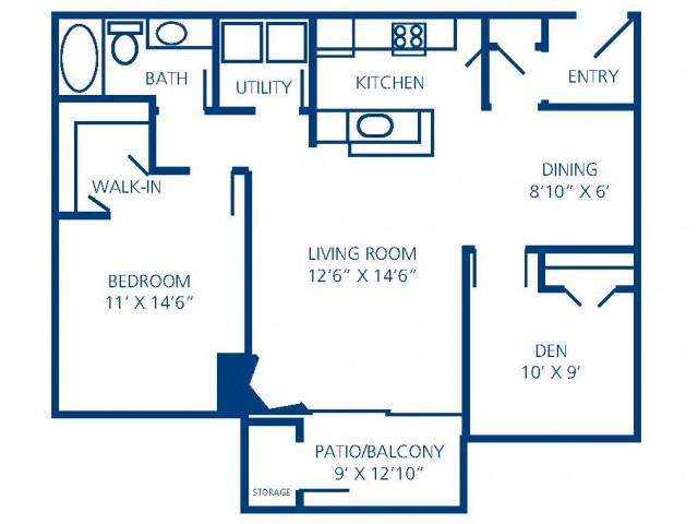 Renovated 2A floorplan that features wood-style flooring, espresso cabinetry, and upgraded lighting.