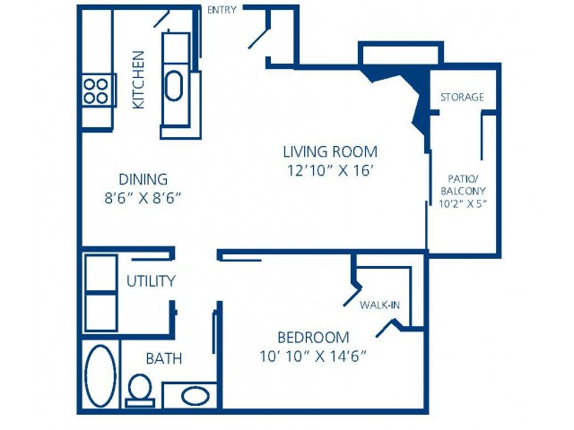 Renovated 1A floorplan that features wood-style flooring, espresso cabinetry, and upgraded lighting.