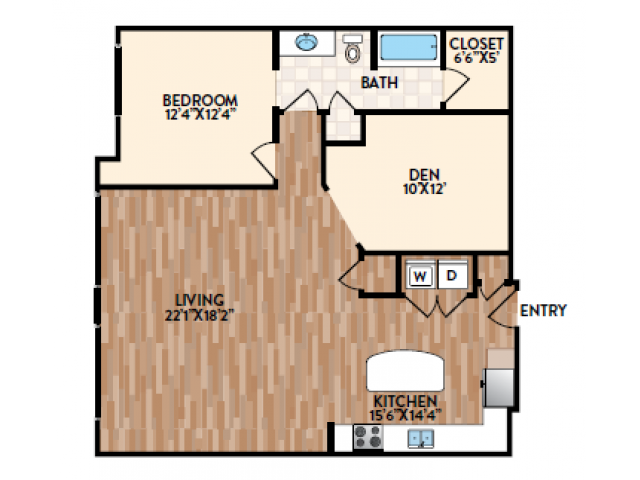 The Trapani is a one bedroom floor plan that includes a den, perfect for a guest room or home office.  This home also features a large corner kitchen with center island and a massive living room.