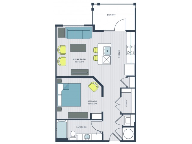 Studio apartment home - Adger floor plan