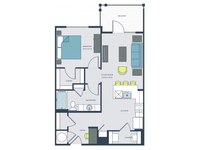 1 bedroom, 1 bathroom with foyer and balcony - Boyce floor plan