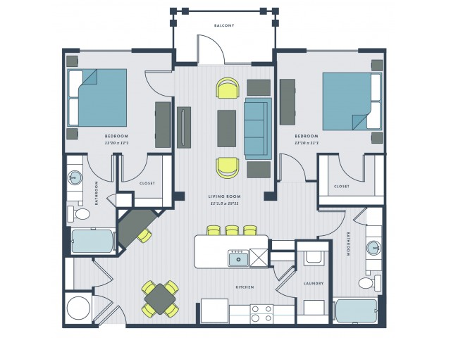 2 bedroom, 2 bathroom apartment home with balcony - Marshall floor plan