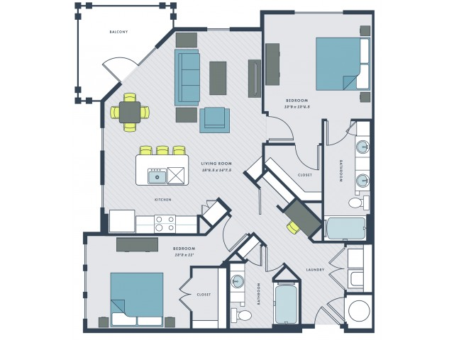 2 bedroom, 2 bathroom apartment home with balcony - Venning floor plan