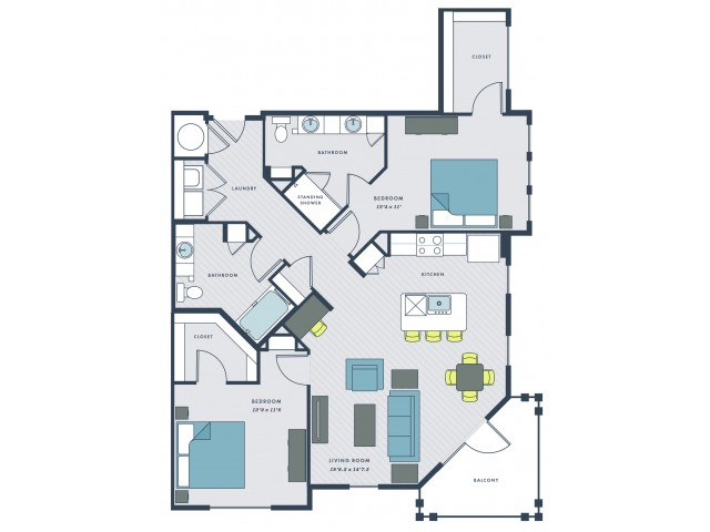 2 bedroom, 2 bathroom apartment home with balcony - Joe floor plan
