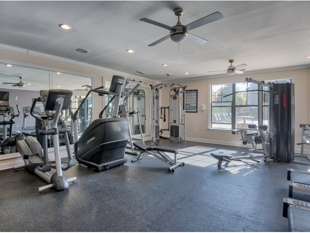 River Birch community fitness center with cardio equipment
