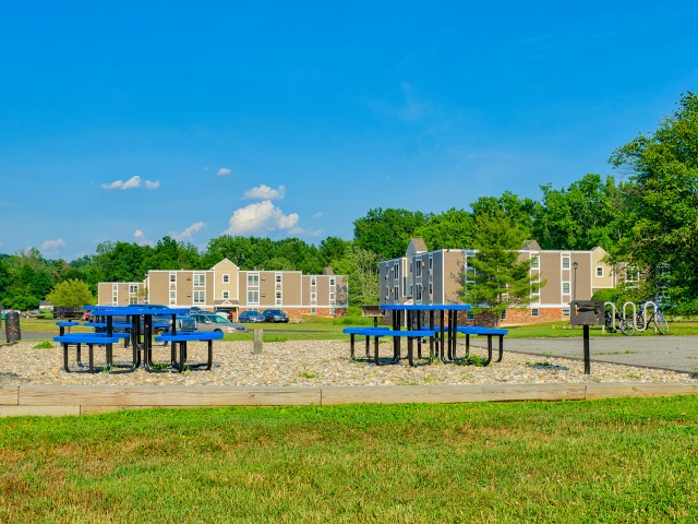 Picnic area with tables and charcoal grills | The Boulders in South Amherst MA