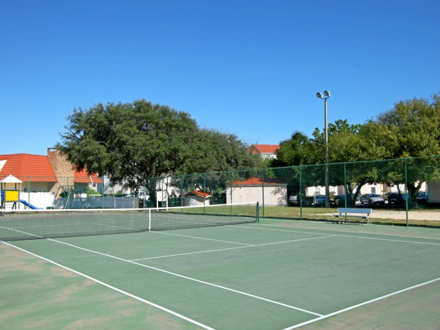 Tennis court at The Brittany apartment complex