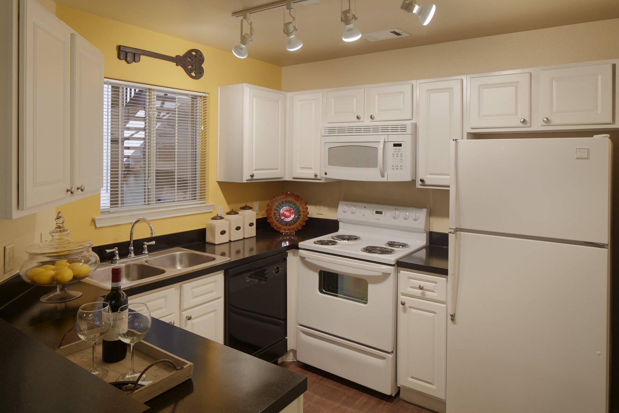 Apartment kitchen with built-in microwave   Austin TX