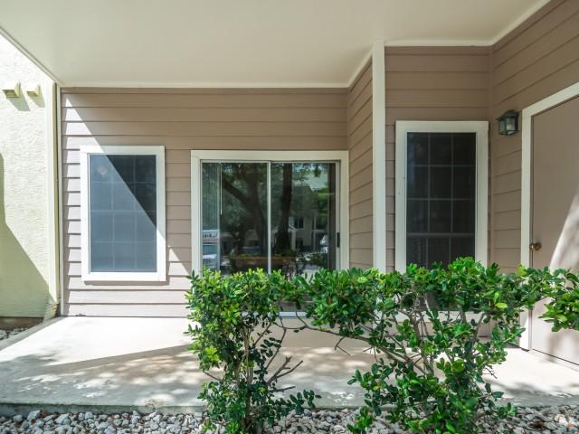 Private patios at Sedona Springs apartments | south Austin TX