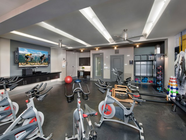 Fitness center spinning and aerobics room   The Rialto