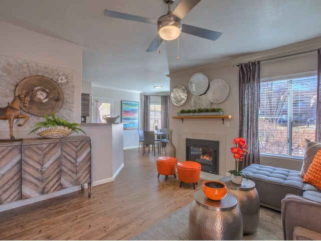 Living room with fireplace and hardwood flooring | Altezza 2 bedroom apartment