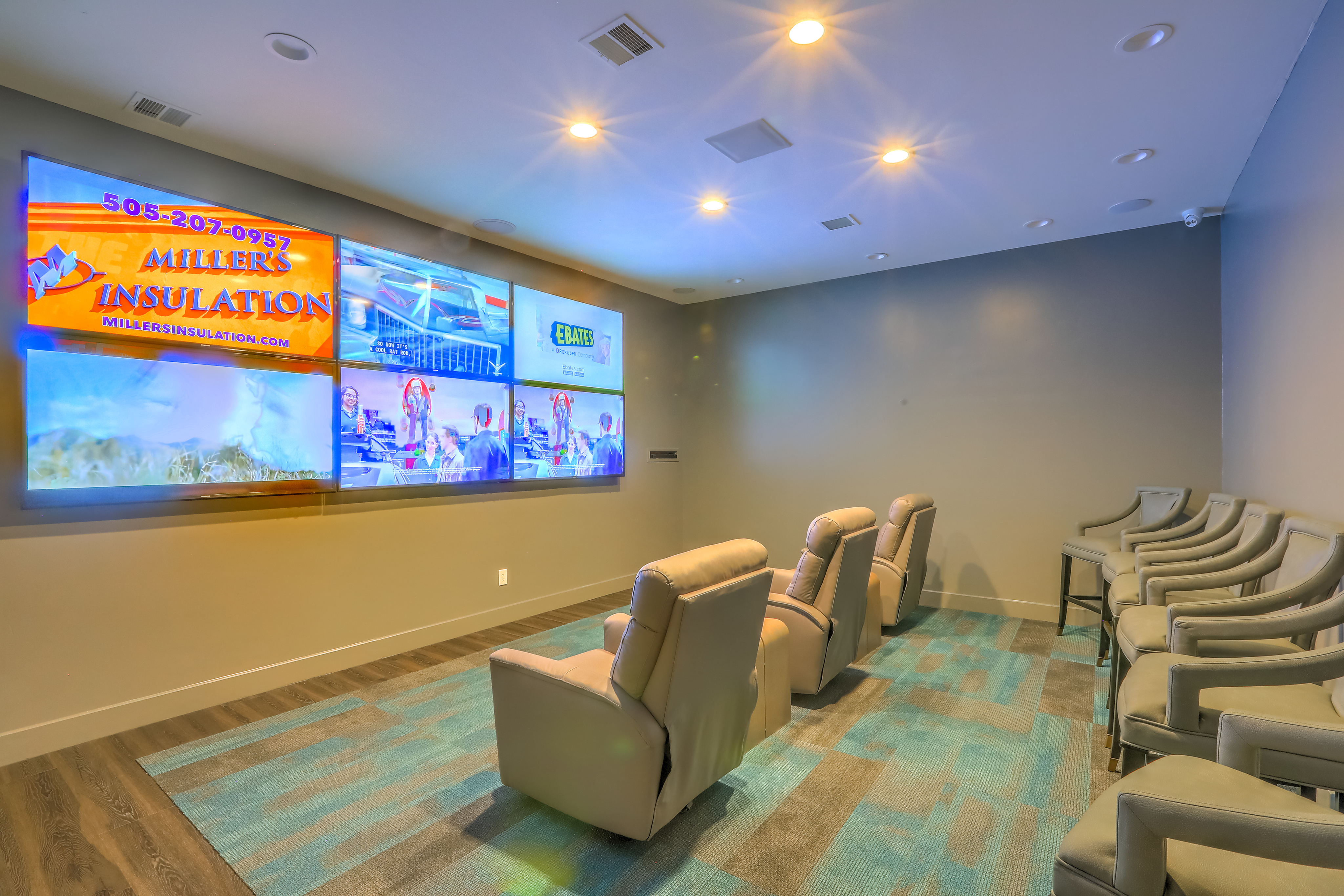 Apartment private theater with lounge seating | Altezza in Albuquerque