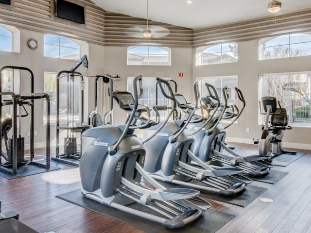 fitness center at gym with cardio equipment and weight machines | Arterra apartments