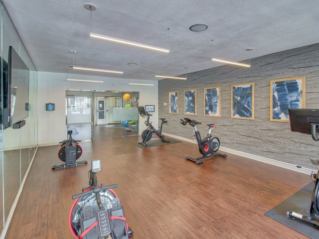 Fitness center with rowing machines and fitness on demand | Austin TX apartments