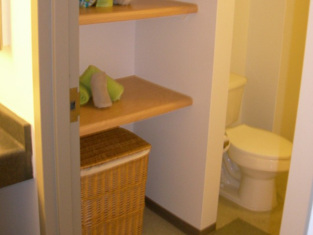 Image of Great Space Saving Shelving in Bathrooms for Auraria Student Lofts