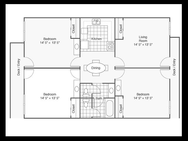 3 Bed - 1.5 Bath Floor Plan