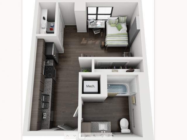 Studio Floorplan at Skyloft