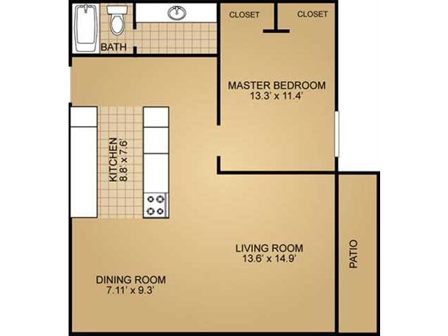 1 Bedroom Floor Plan | Ridge View