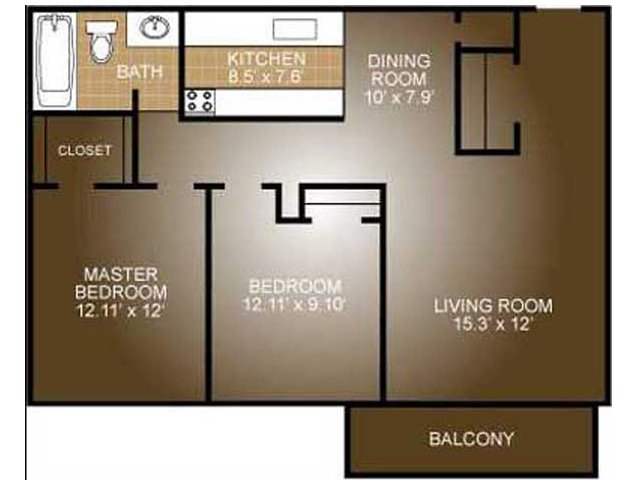 2 Bedroom Floor Plan | Ridge View