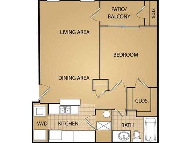 1 Bedroom Floor Plan | Saint James Place Apartments