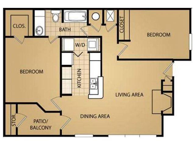 2 Bedroom Floor Plan | Saint James Place Apartments
