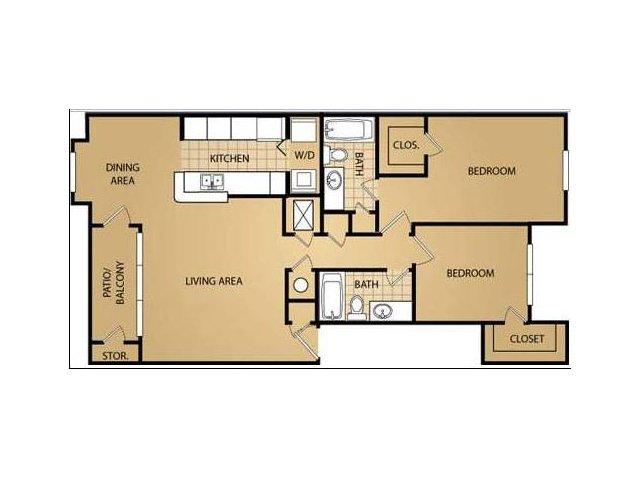 2 Bedroom Floor Plan | Saint James Place Apartments 2