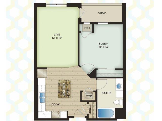 1 Bedroom Floor Plan | The Vue Apartments