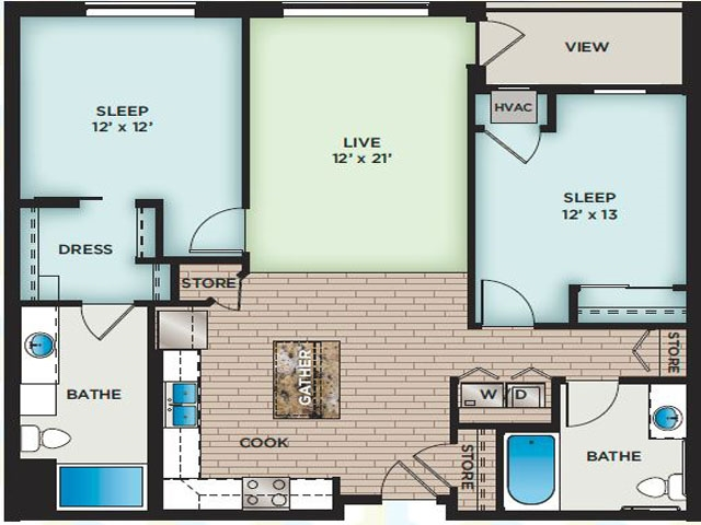 2 Bedroom Floor Plan | The Vue Apartments