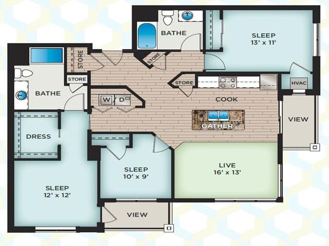 3 Bedroom Floor Plan | The Vue Apartments