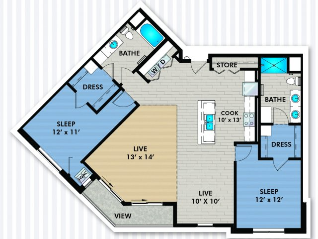 2 Bedroom Floor Plan | The Woodlands Apartments 3