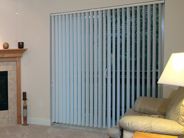 Image of Vertical Blinds on Patio Door & Mini Blinds on all Windows for Liberty Square