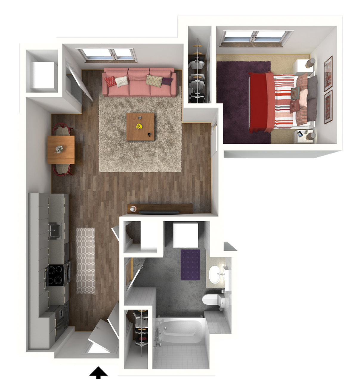 Studio Floor Plan 2 3D | Madison WI Apartments | 22 Slate