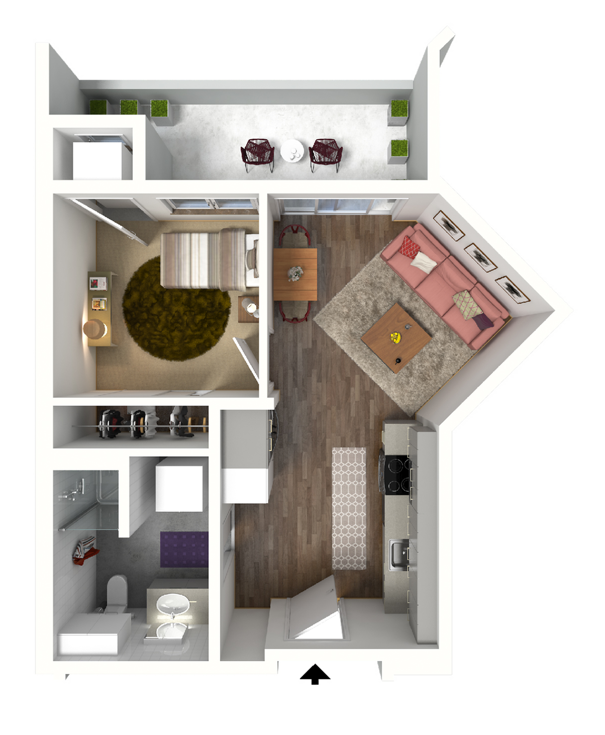 Studio Floor Plan 4 3D | Madison WI Apartments | 22 Slate