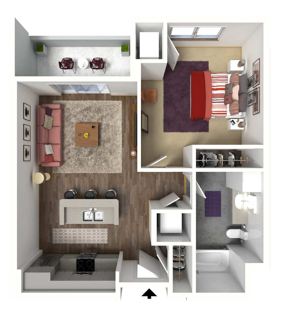 1 Bedroom Floor Plan 1 3D | Luxury Madison Apartments | 22 Slate