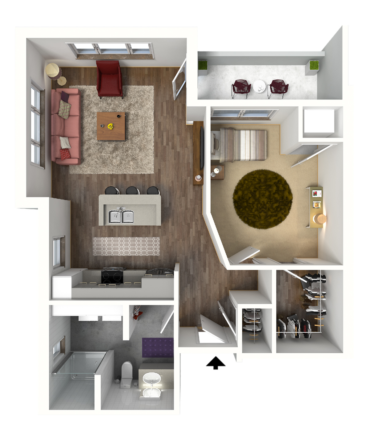 1 Bedroom Floor Plan 4 3D | Luxury Madison Apartments | 22 Slate