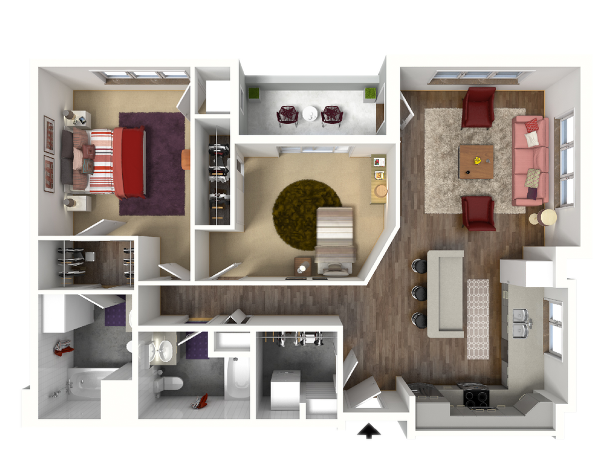 2 Bedroom Floor Plan 3 3D | Luxury Madison Apartments | 22 Slate
