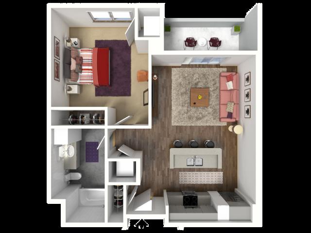 1 Bedroom Floor Plan 8 3D | Luxury Madison Apartments | 22 Slate