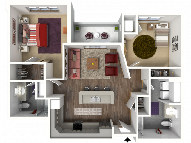 Floor Plan D2A | 22 Slate | Apartments in Madison, WI