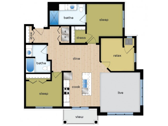 Floor Plan E1 | Elan | Apartments in Fitchburg, WI