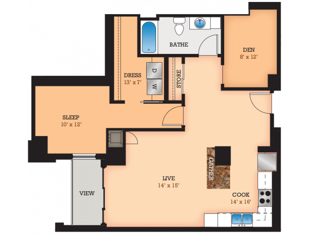 Floor Plan A1 | Domain | Apartments in Madison, WI