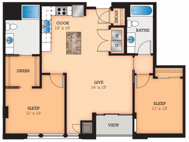 Floor Plan D1 | Domain | Apartments in Madison, WI