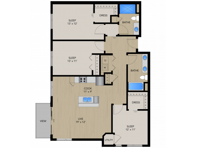 Floor Plan 3B | 1505 Apartments | Apartments in Grafton, WI