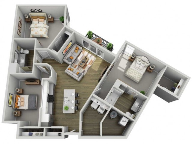 Floor Plan 3A | State Street Station | Apartments in Wauwatosa, WI